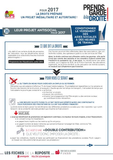 Prends garde à la droite #21 | Conditionner le versement des aides sociales à des heures de travail
