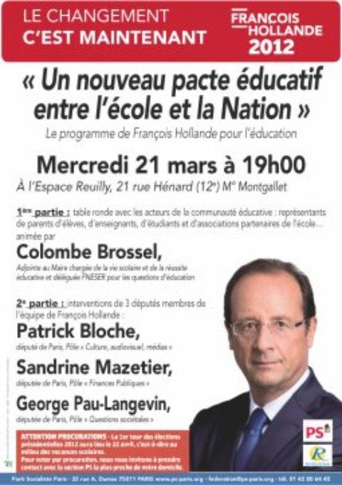 « Un nouveau pacte éducatif entre l'école et la Nation » – Réunion publique (12e)