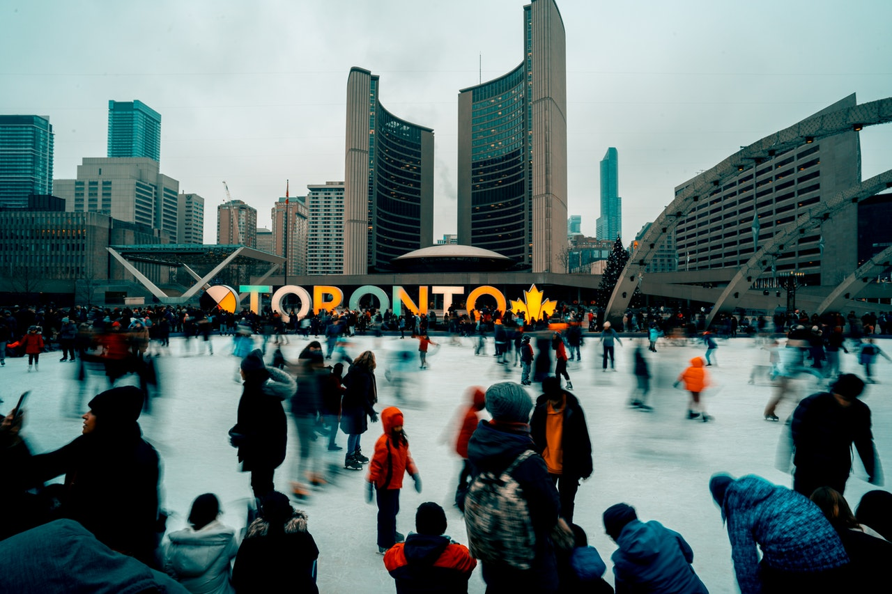crowd on outdoor ice rink