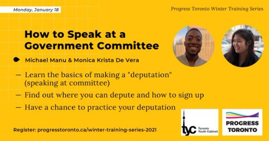 Progress Toronto how to speak at a government committee