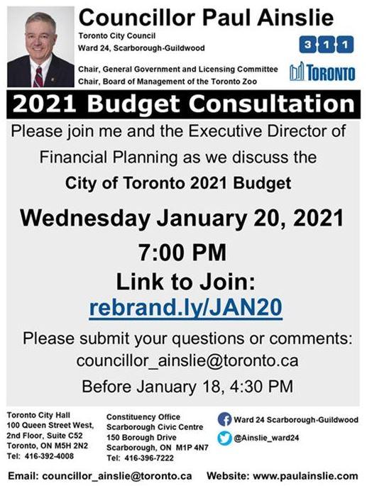 Councillor Ainslie budget consultation