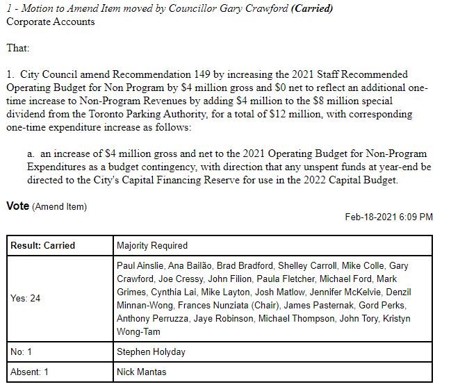 Councillor Crawford motion 4 mil