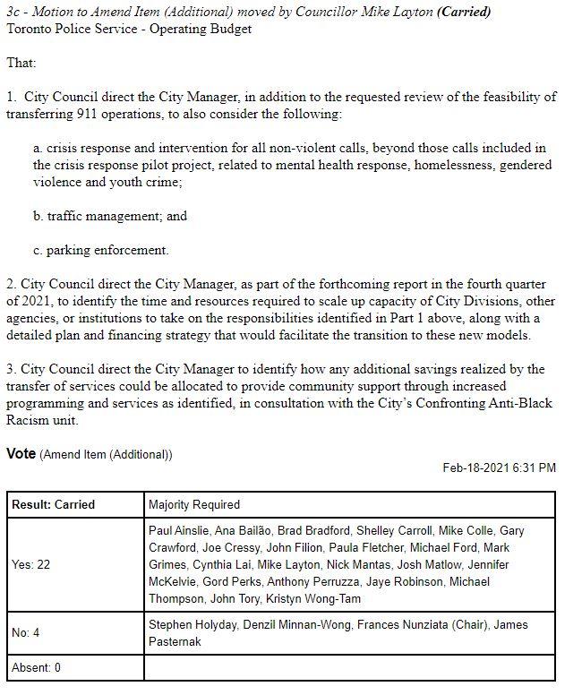 Councillor Layton police motion