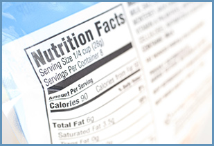 nutrition label close up