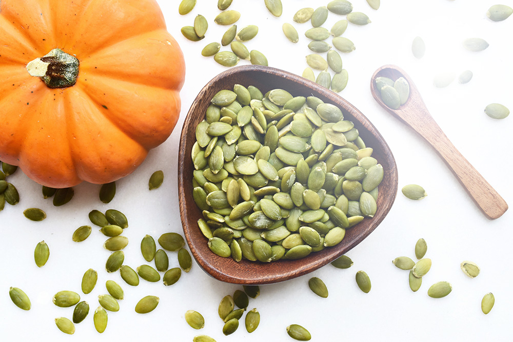 Pumpkin seeds are a healthy snack
