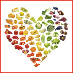 healthy foods in shape of heart