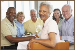 Diverse older adults at restaurant