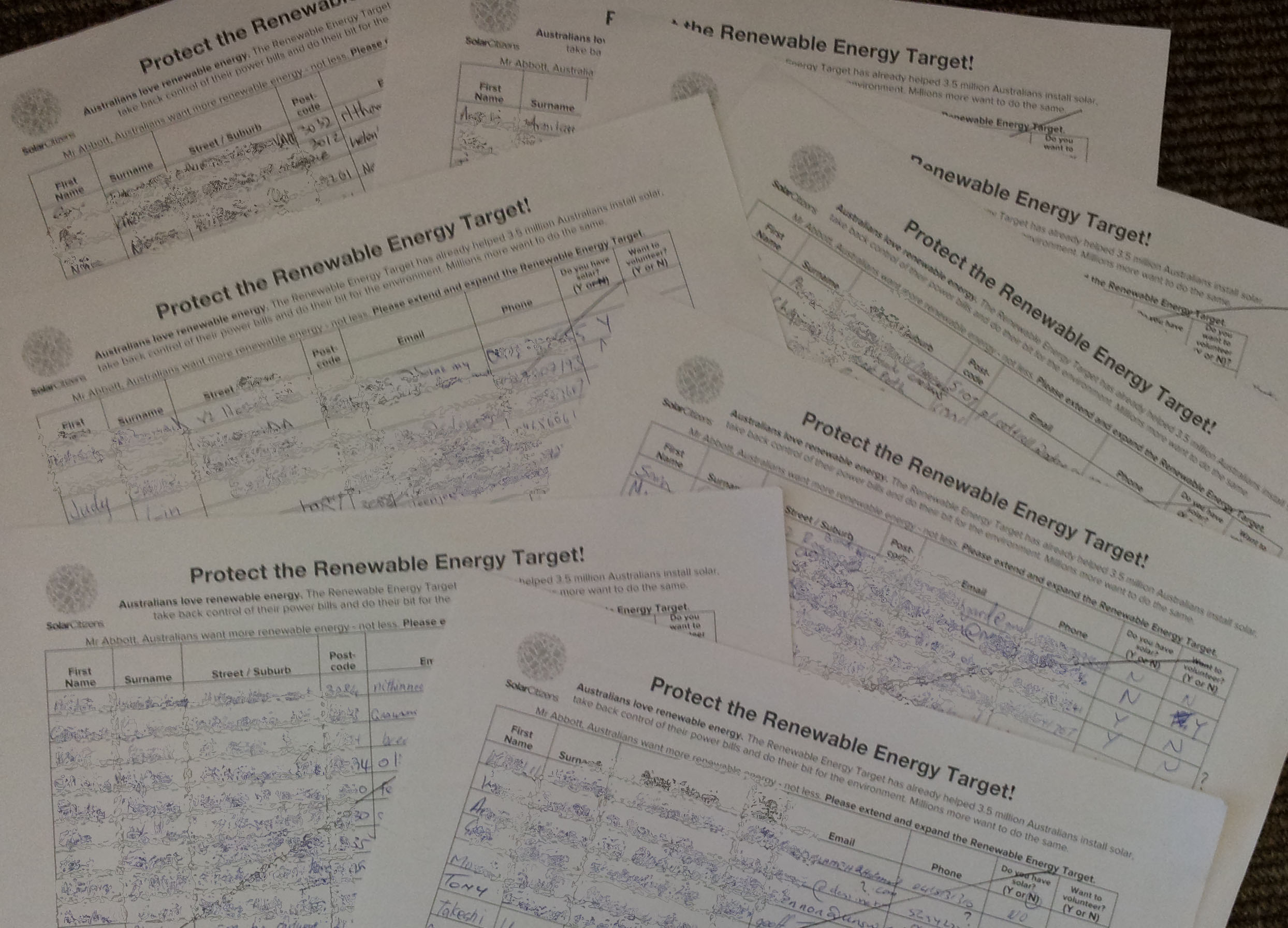 Packed petition sheets
