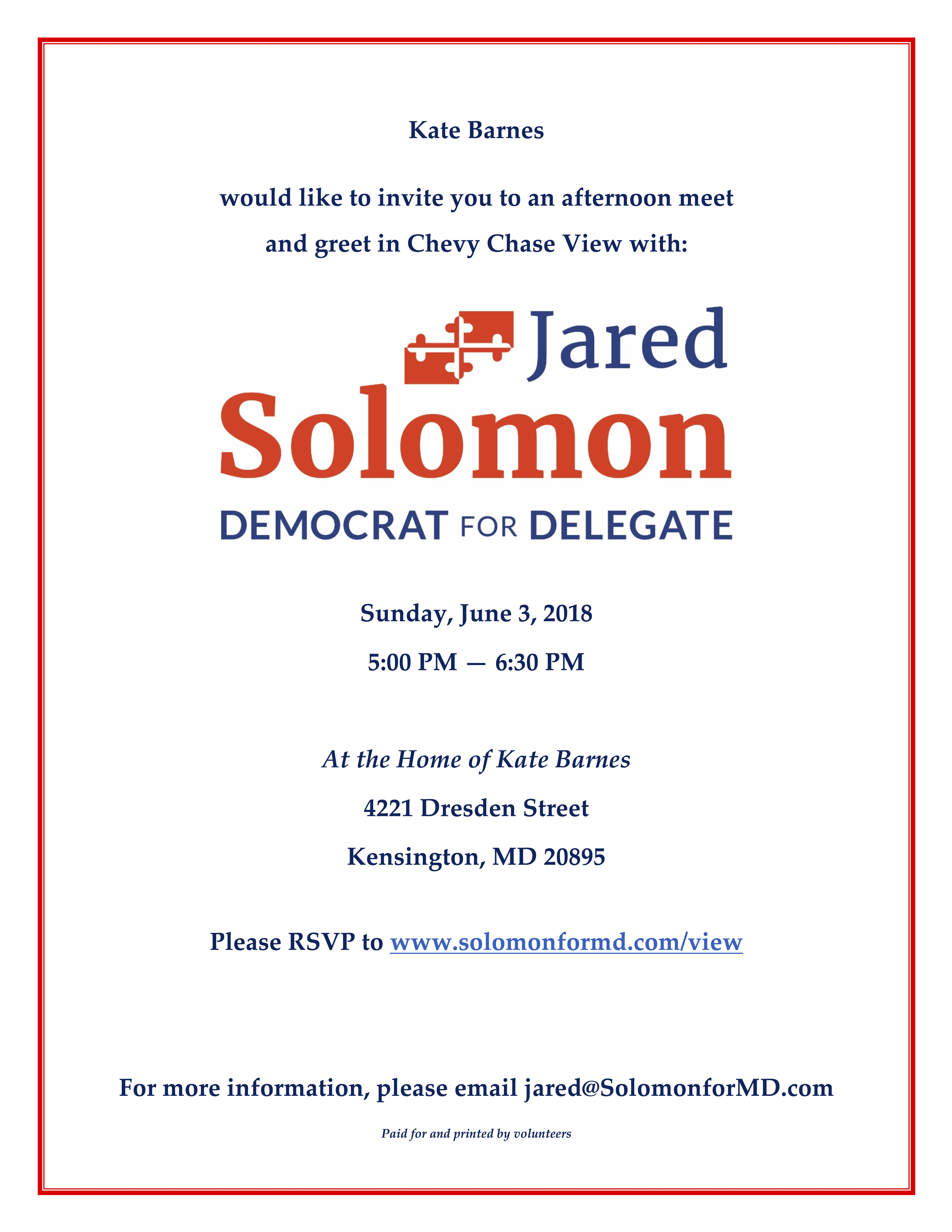 Chevy Chase View Meet Greet Jared Solomon For Maryland Delegate