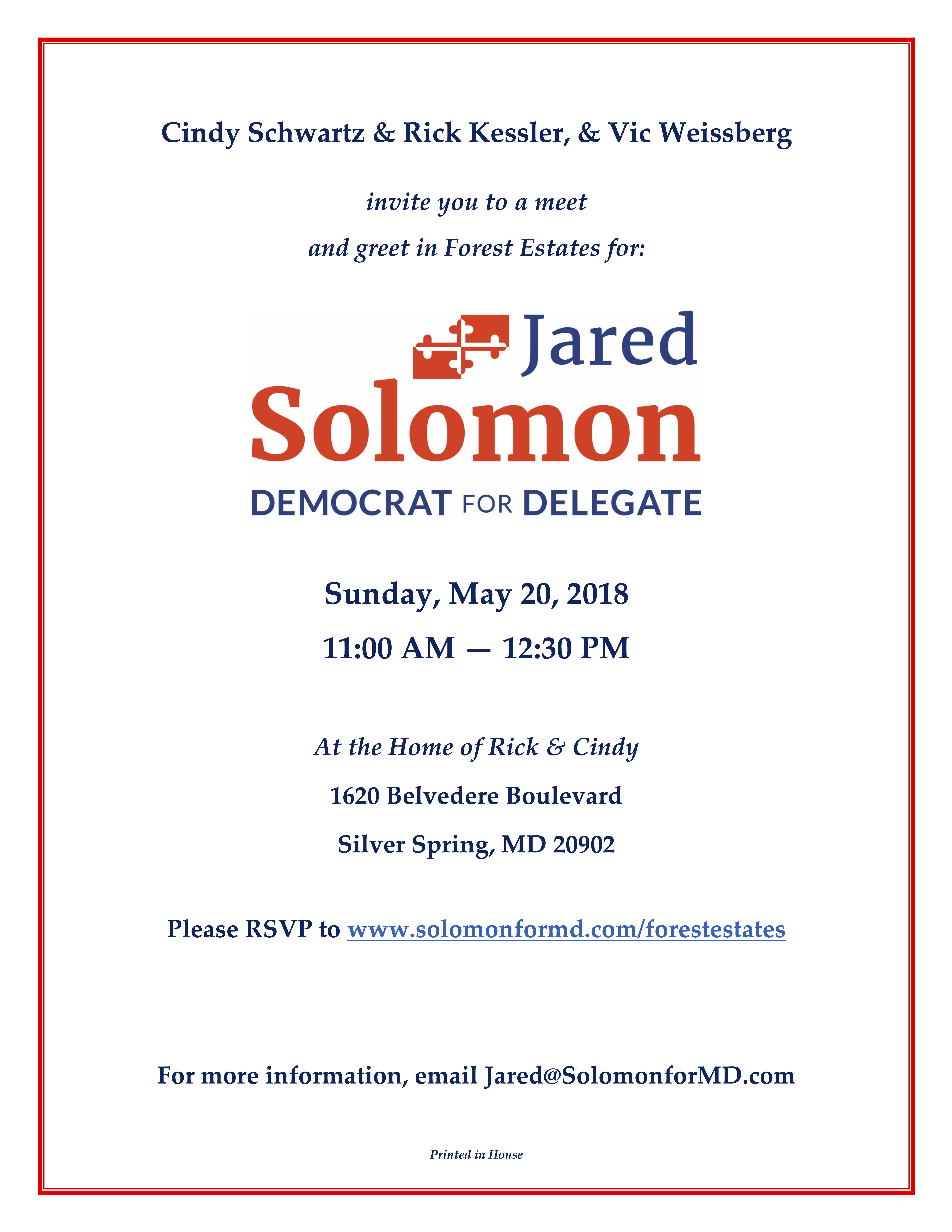 Forest Estates Meet Greet Jared Solomon For Maryland Delegate