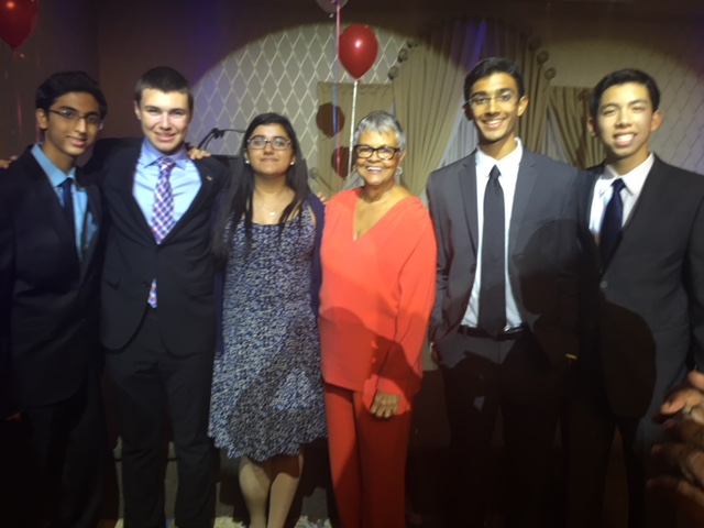 (from left to right): Parth Darji, Nick Sokol, Megha Tandon, Representative Bonnie Watson Coleman, Varun Seetamraju, Jason Lam