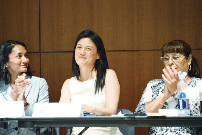 Cindy Wu (center) is elected to DCCC Chair on July 20, 2016.