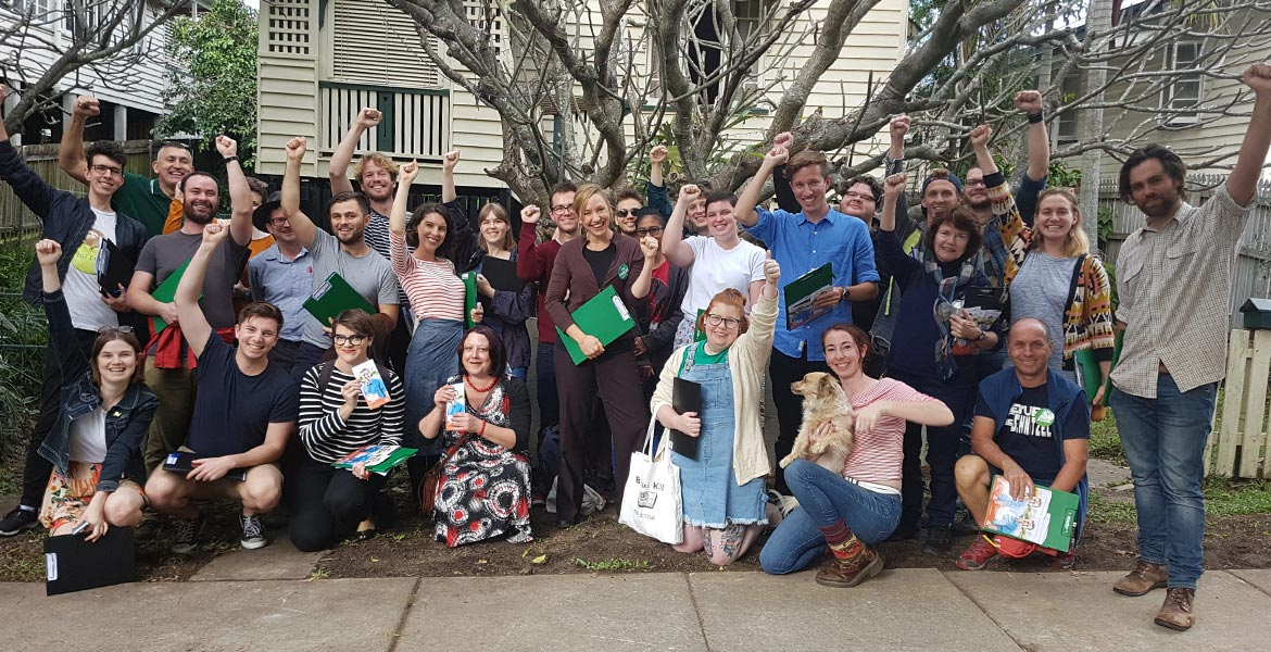 Greens' first doorknock Max for Griffith