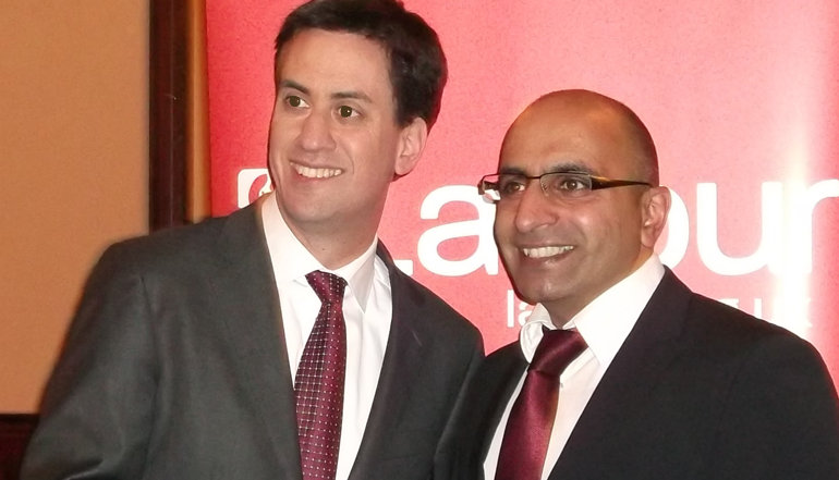 Del Singh with Ed Miliband