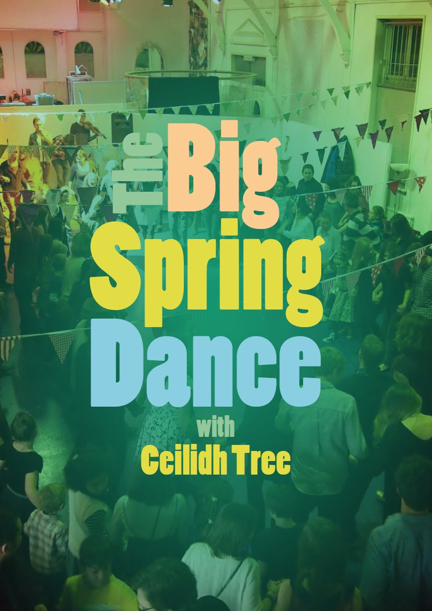 Text: 'Big Spring Dance' over photo of people dancing
