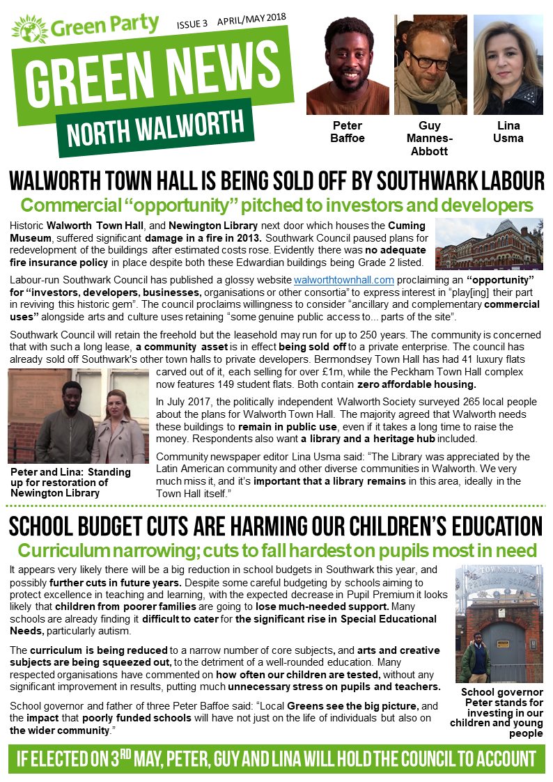 North Walworth Green News April/May 2018