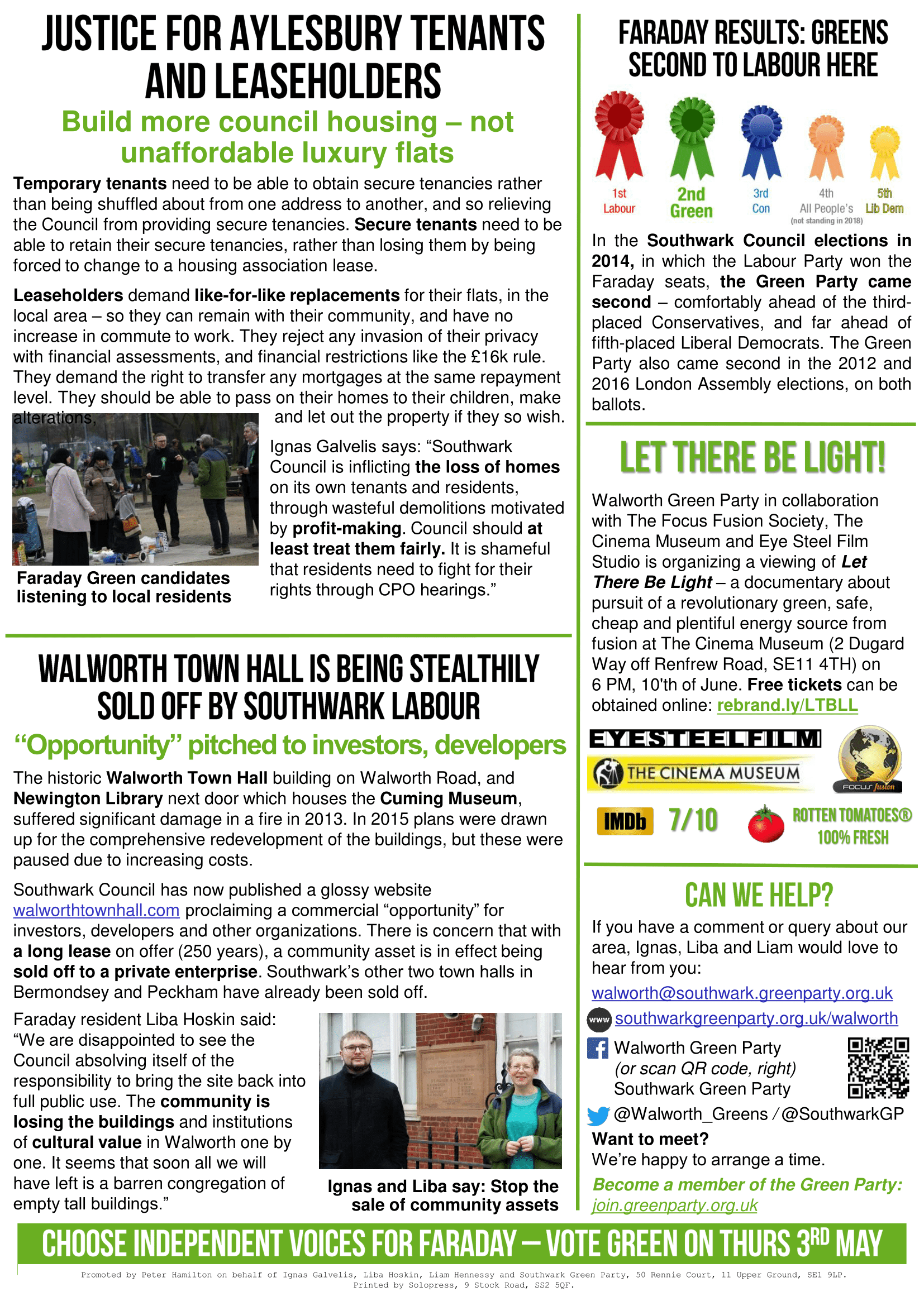 Faraday Green News - April 2018