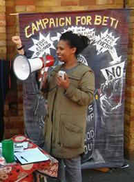 Betiel Mahari with megaphone