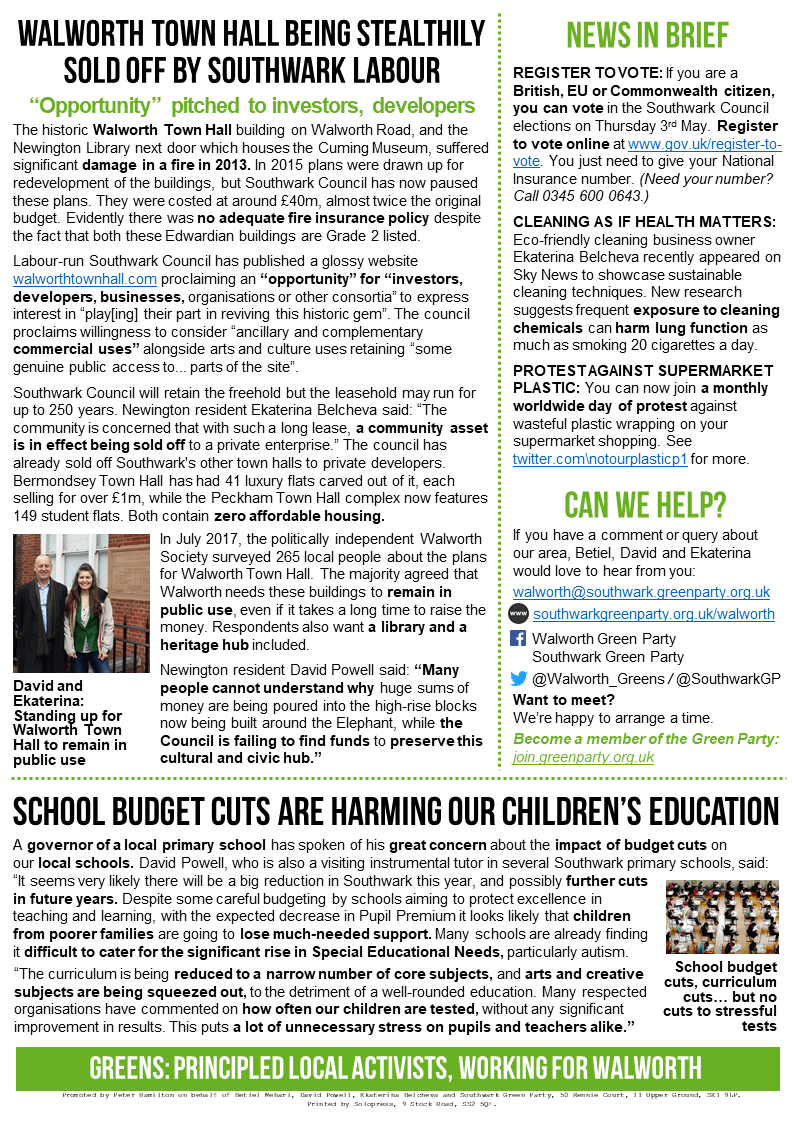 Newington Green News April 2018 - PDF link