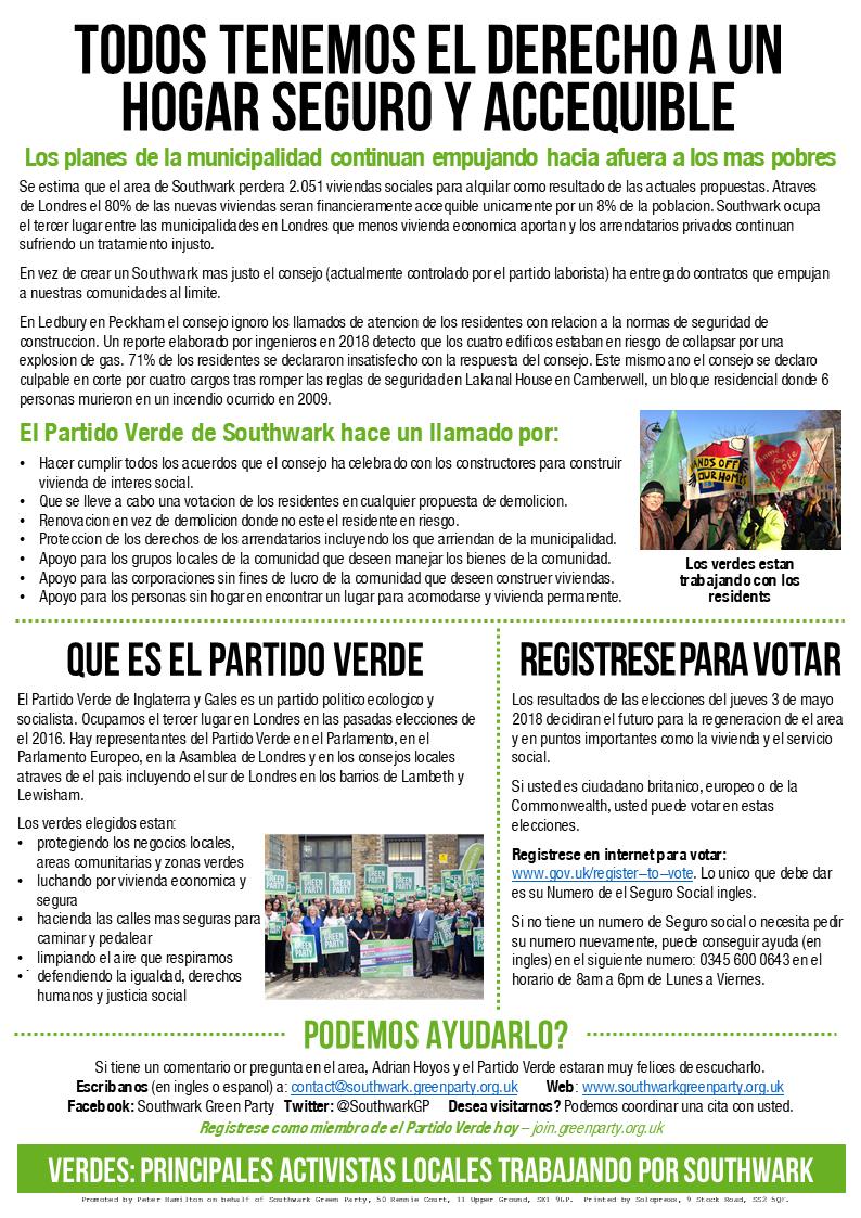 Southwark Noticias Verdes abril de 2018