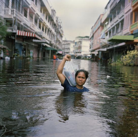 A flooded street in Thailand, 2011