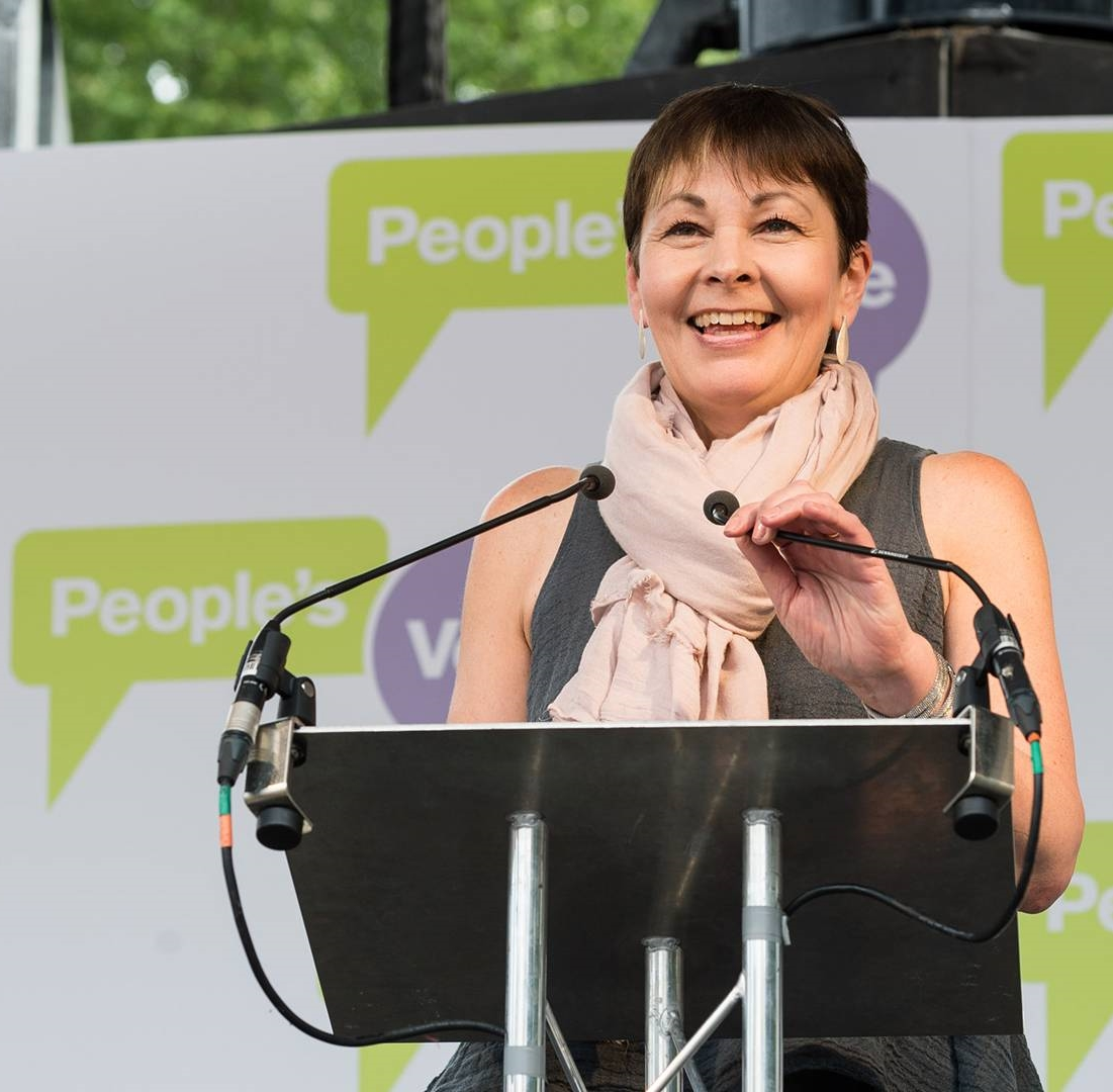 Caroline Lucas speaklng on People's Vote platform