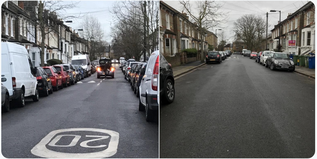 Derwent Grove before and after the commuters go home – photo courtesy of @edstnparking