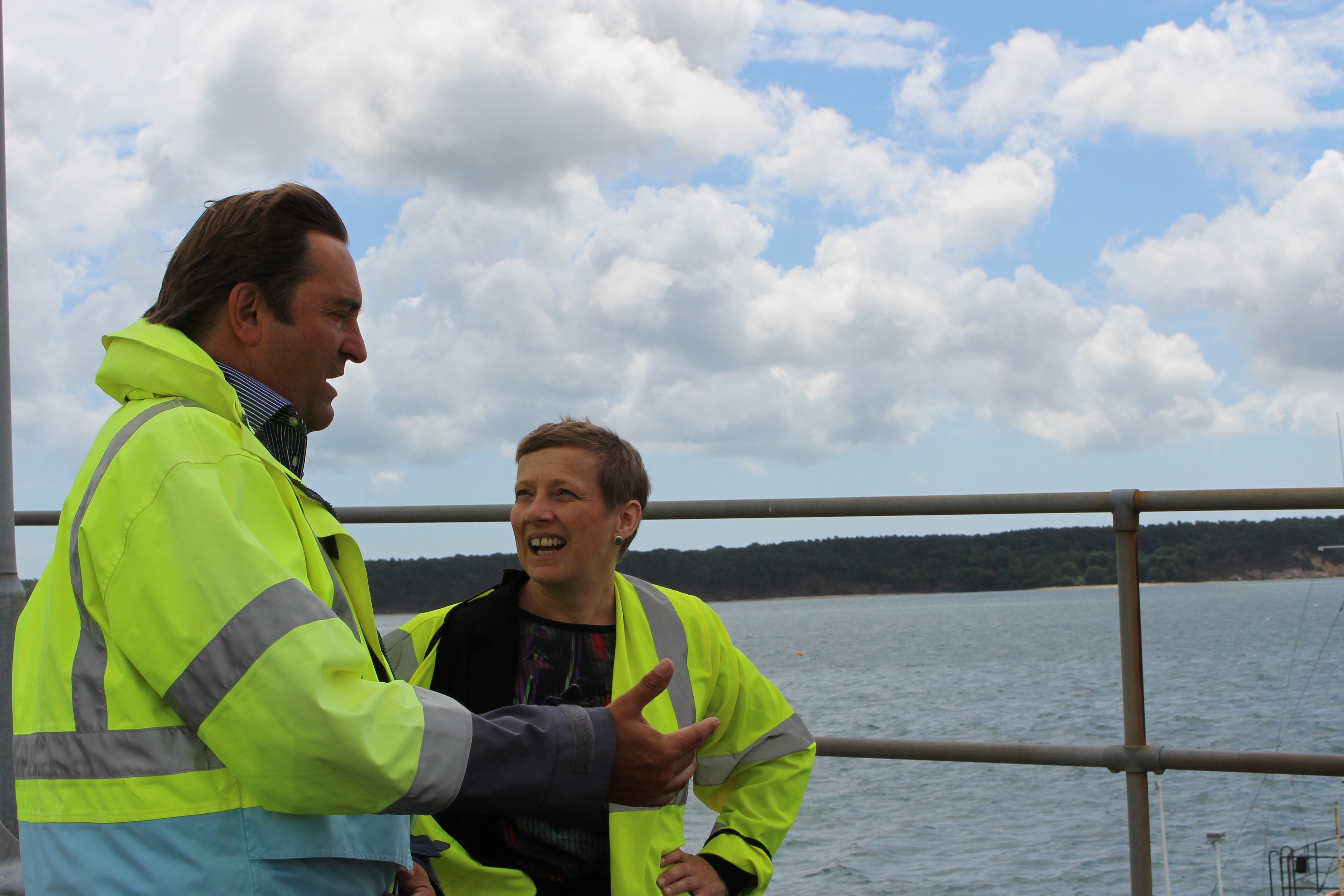 Clare Moody MEP with Jim Stewart, Chief Executive of Poole Harbour Commissioners