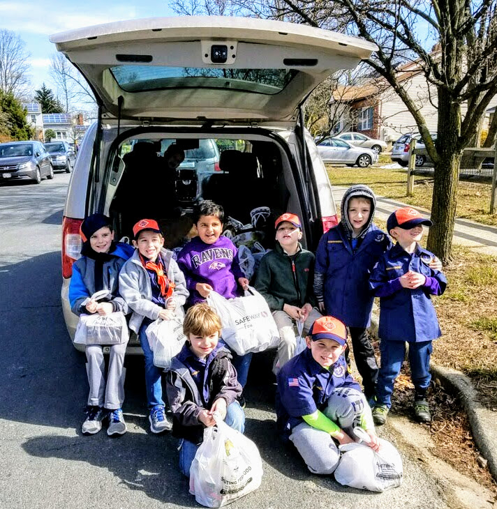 Cub Scouts with Food Donations