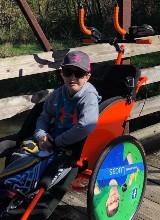 Lucas in his wheelchair