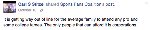 Carl's Facebook comment