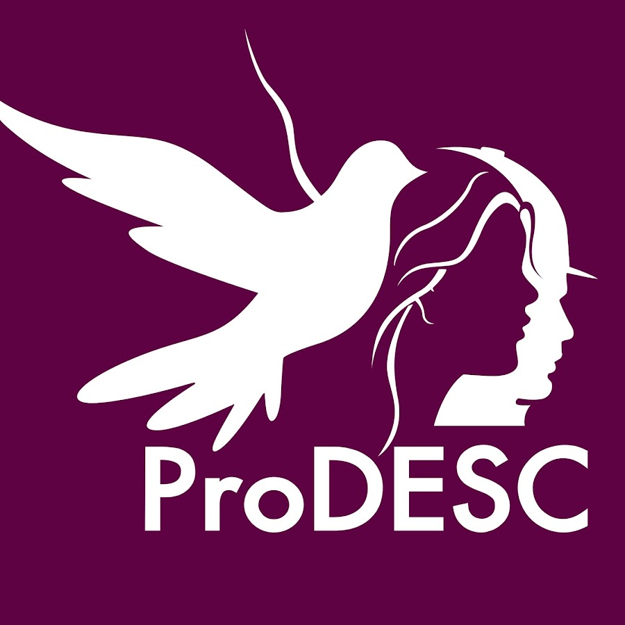 ProDESC logo - bird flying alongside the silhouetted faces of a man and woman