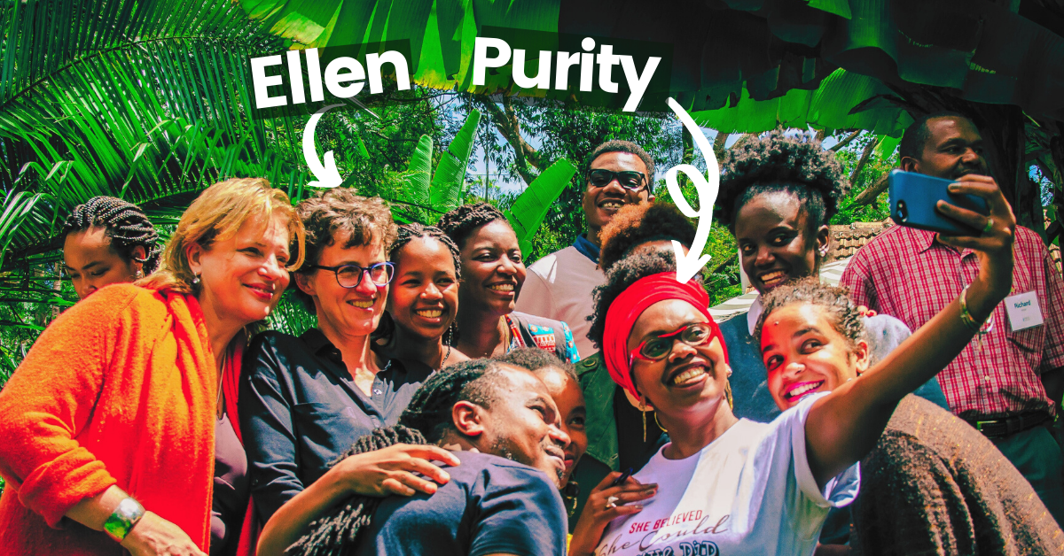 Ellen and Purity with young leaders from Akili Dada