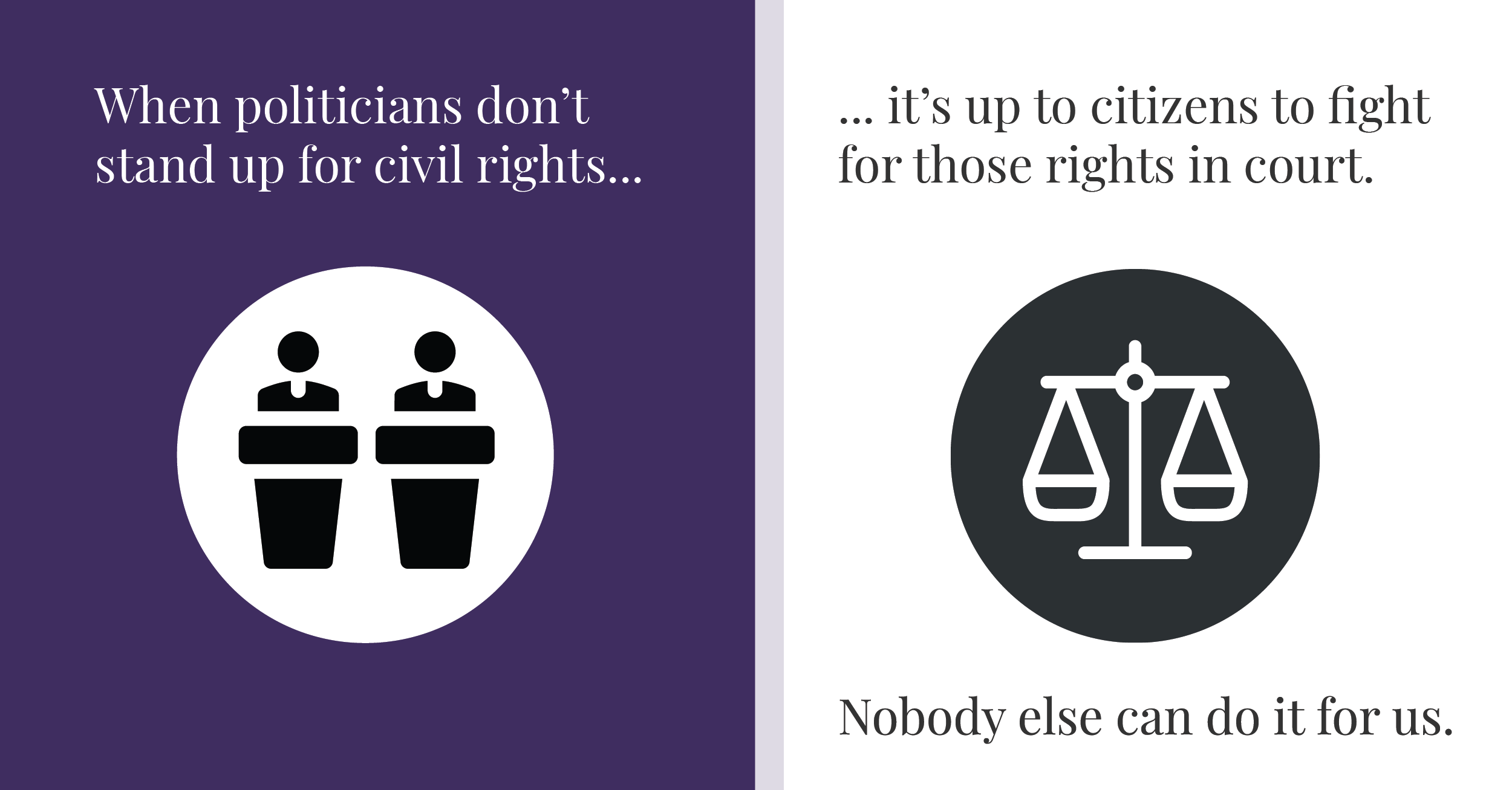 When politicians don't stand up for our civil rights, it's up to citizens to fight for those rights in court. Nobody else can do it for us.