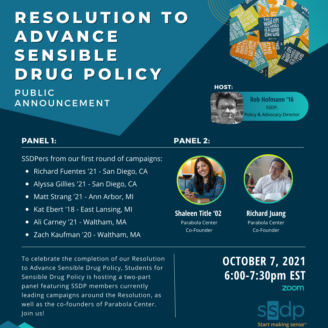 Resolution to Advance Sensible Drug Policy Public Announcement Poster