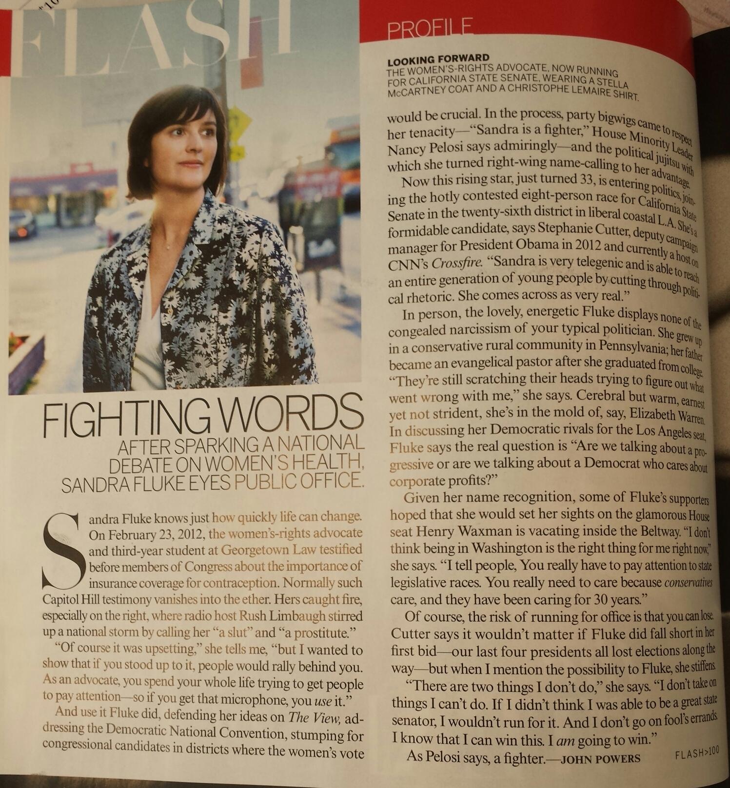Vogue: After Sparking a National Debate, Sandra Fluke Eyes National Office