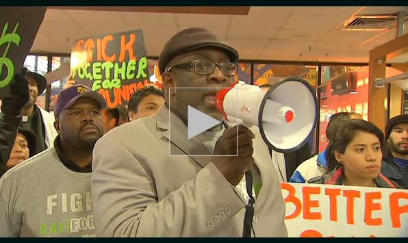 NBC 4 LA: Sandra Fluke Marches Into LA McDonald's in Fast-Food Workers Strike
