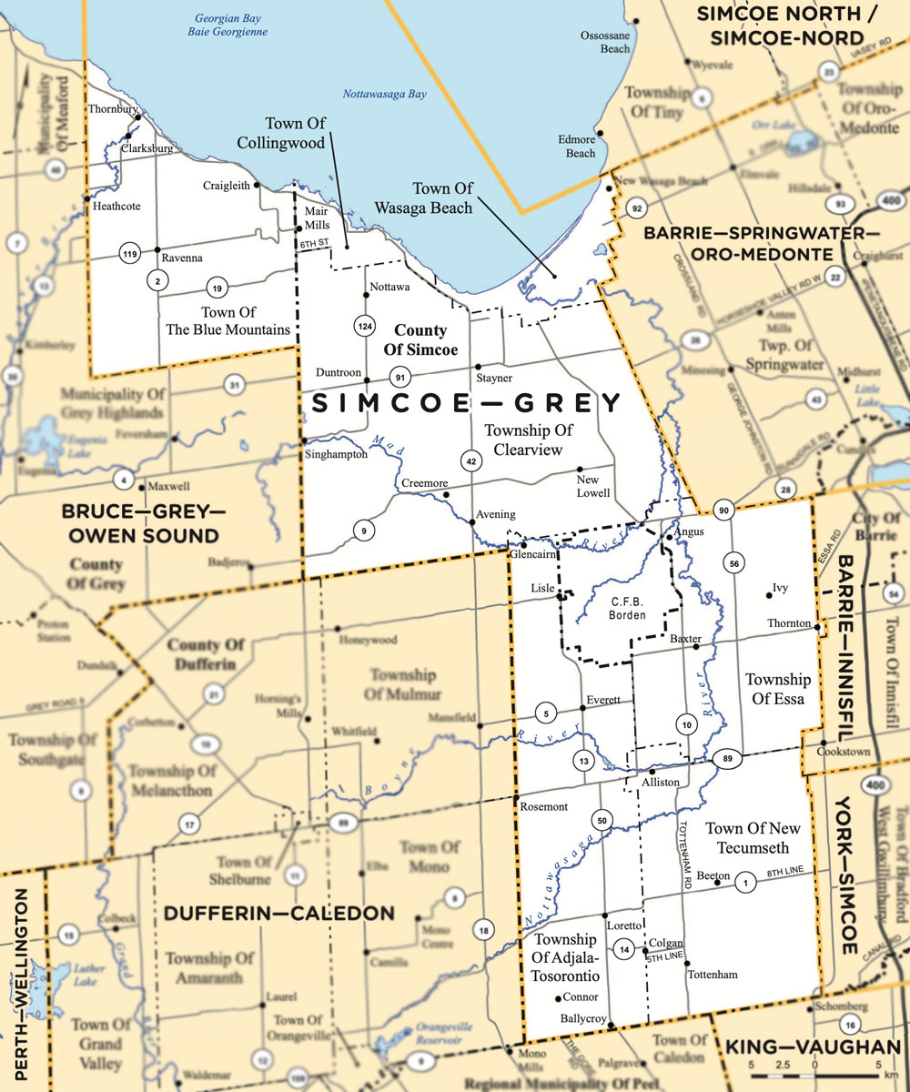 Simcoe-Grey riding map provincial electoral district