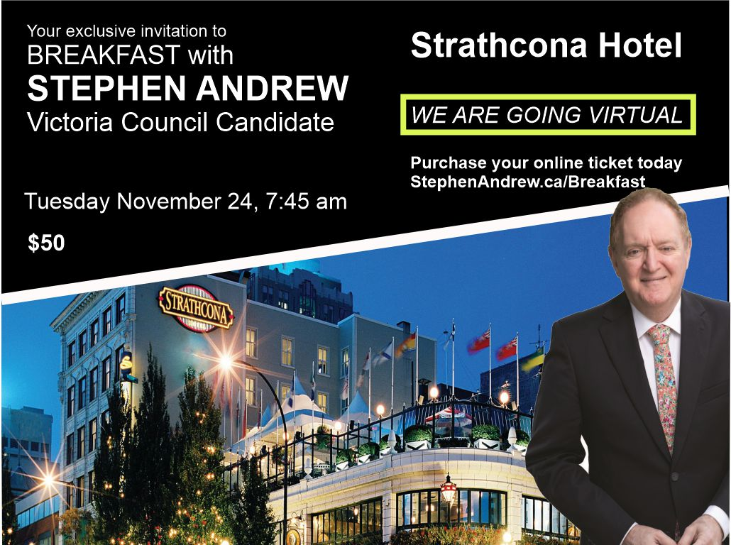 A virtual breakfast with city council candidate, Stephen Andrew