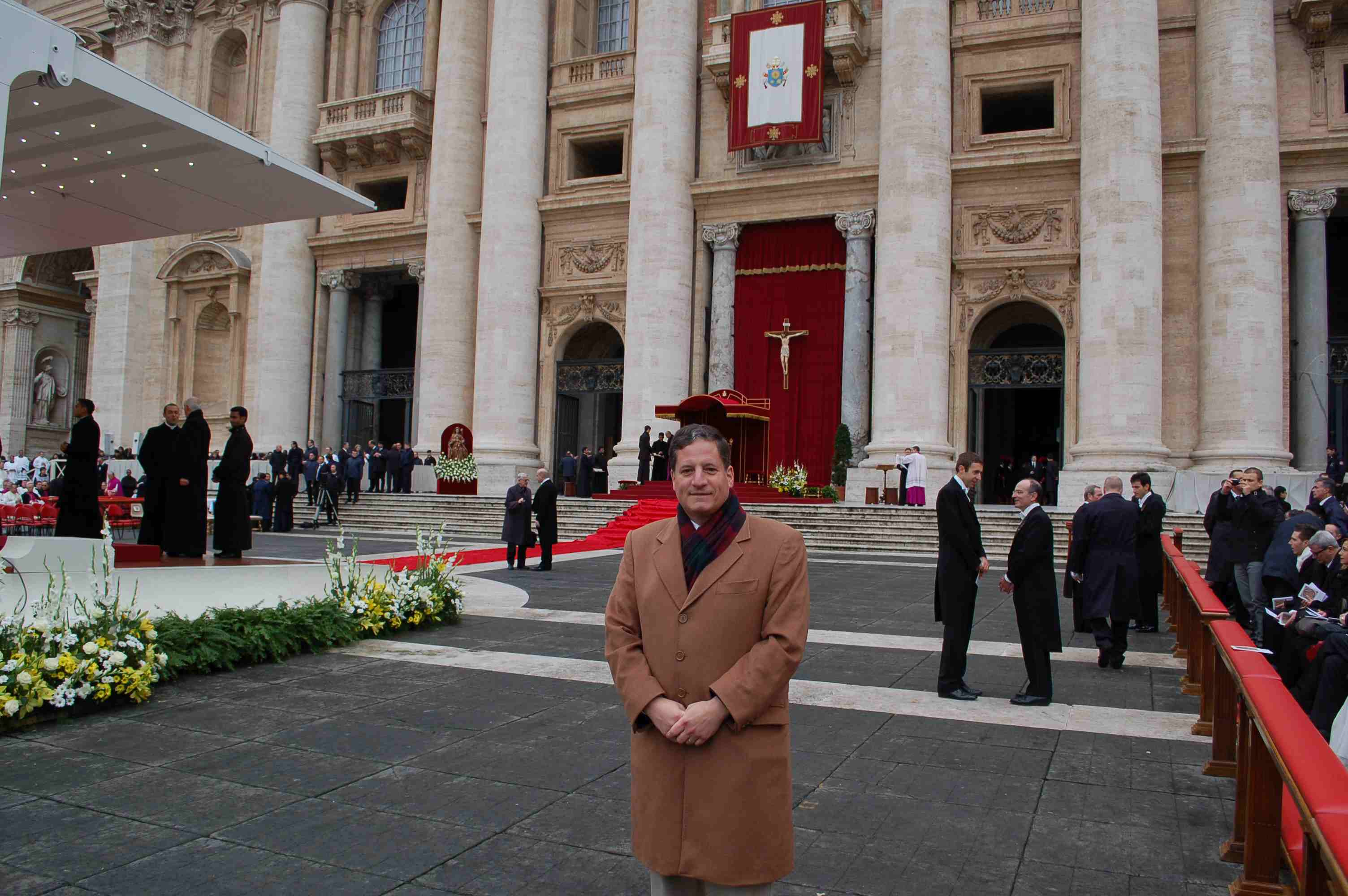 Thomas McKenna awaiting the Papal Mass