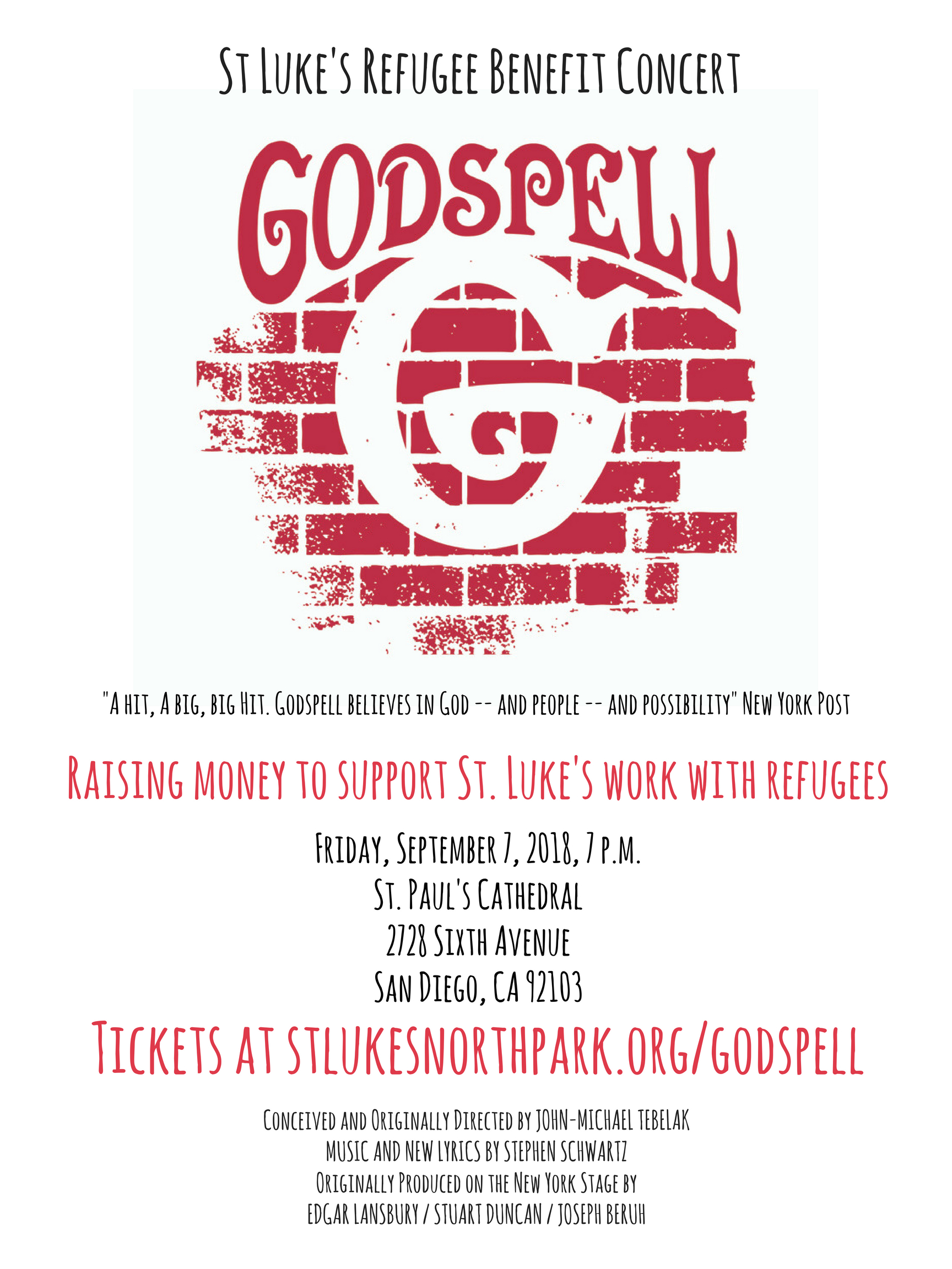 Godspell refugee benefit concert San Diego St Lukes
