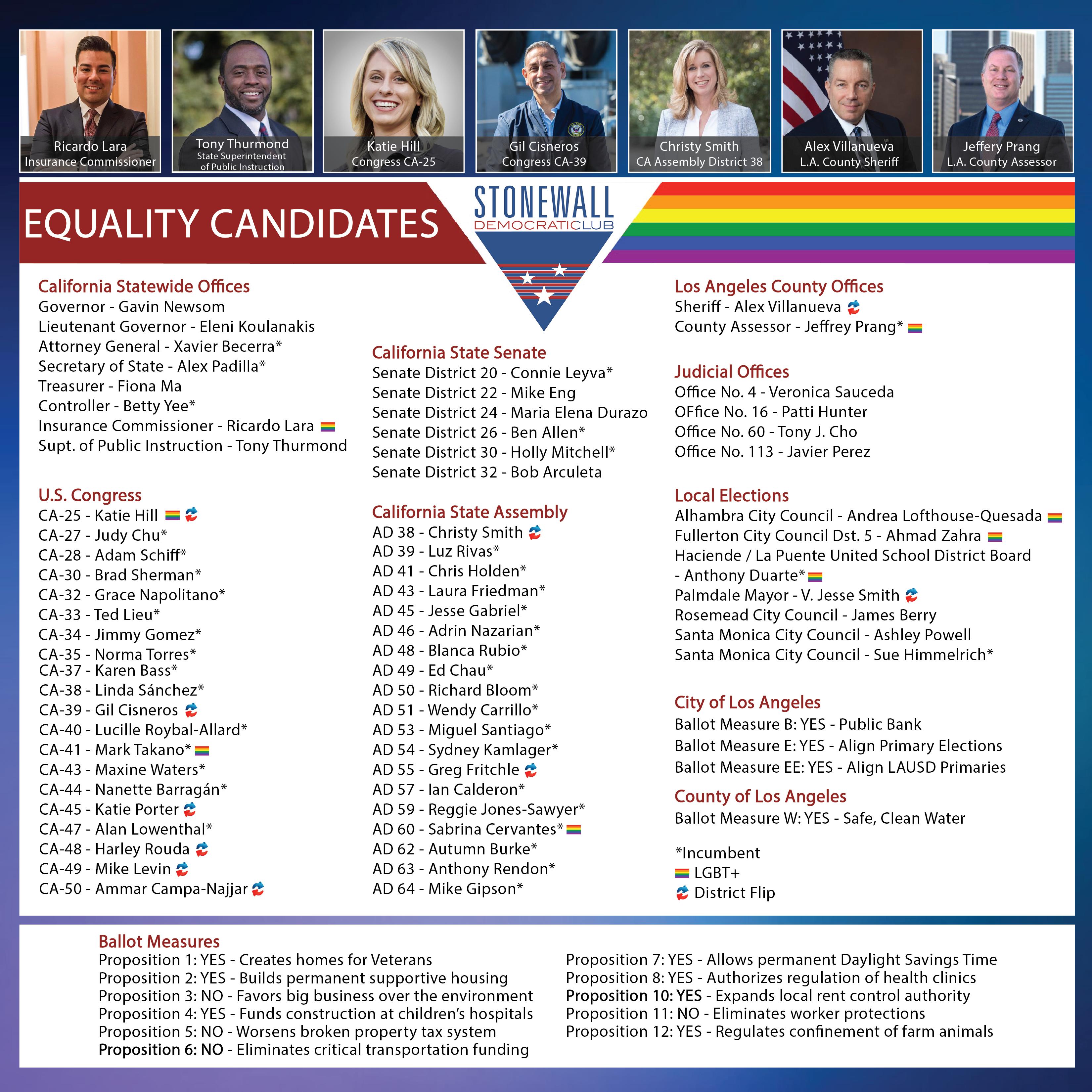 Updated November Endorsement Slate