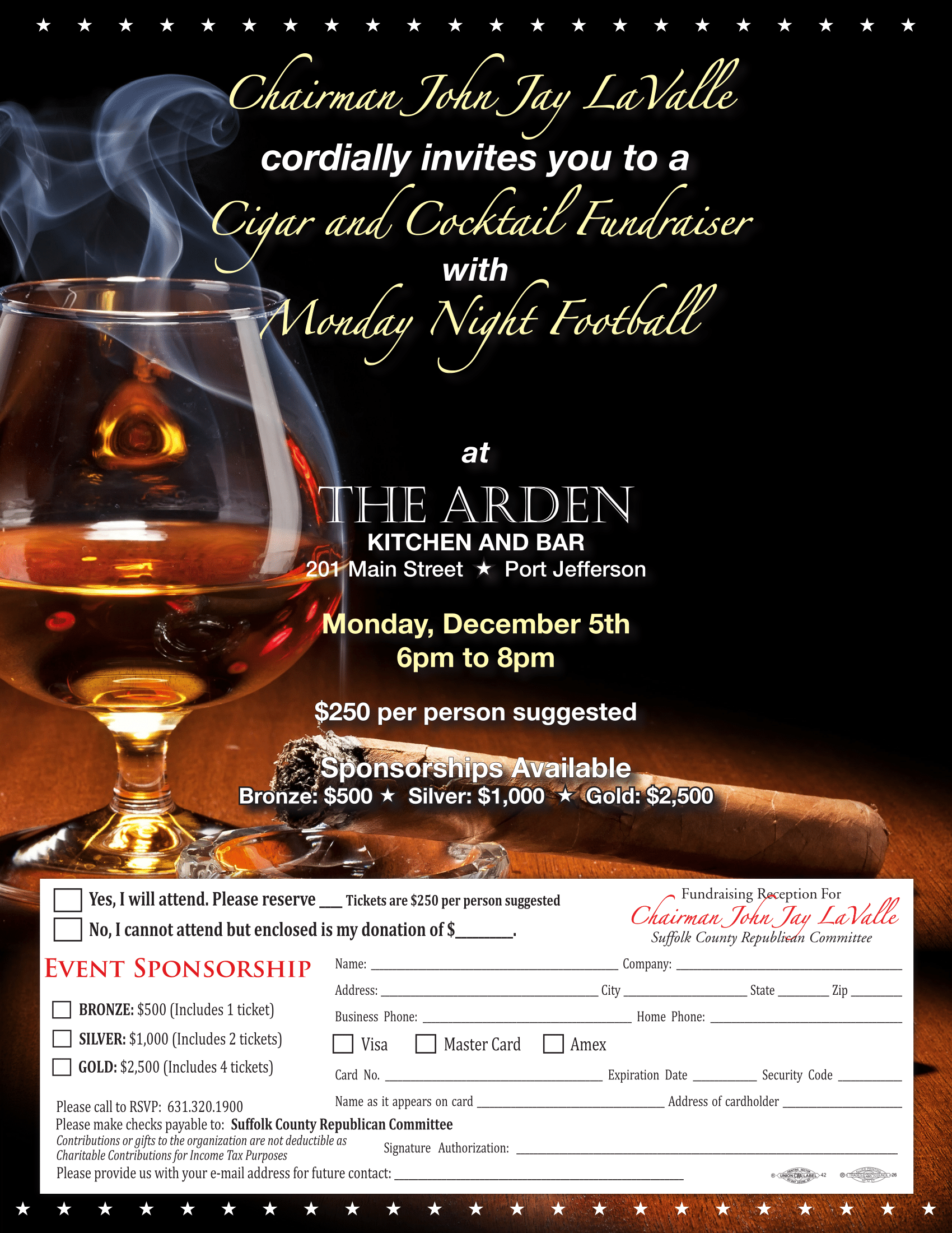Cigar and Cocktail Fundraiser with Monday Night Football