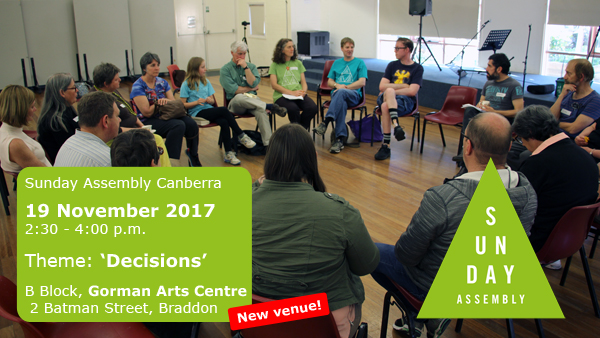 Sunday Assembly Canberra November 2017 planning event: Decisions