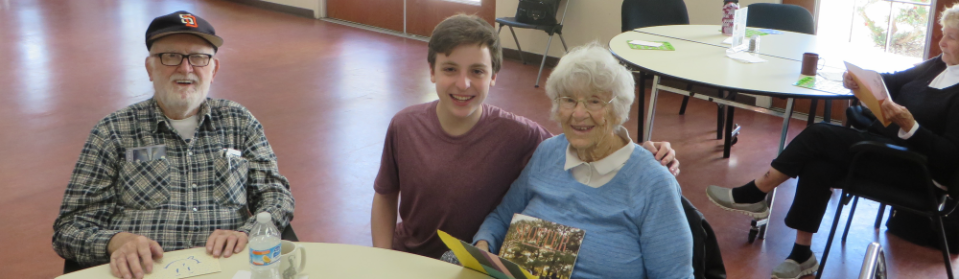 teen boy visiting the elderly