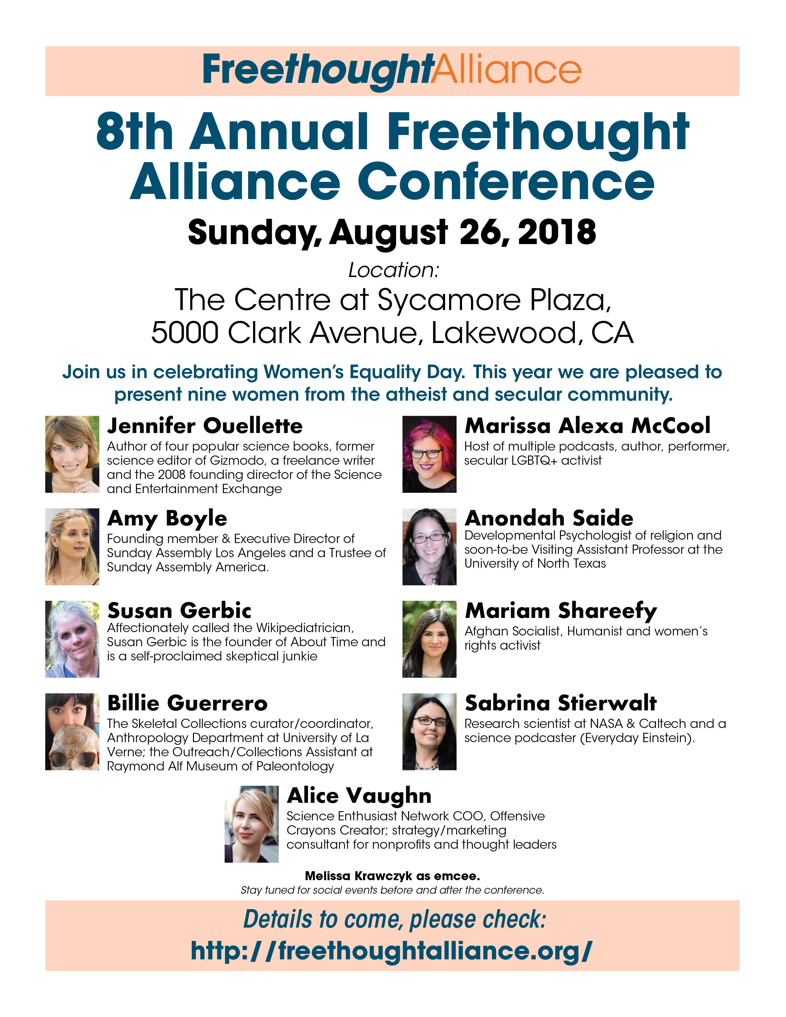 OC Freethought Alliance Symposium flyer with headshots, bios