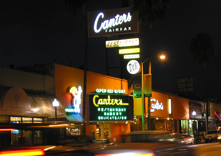 Image: Canter's sign at night.