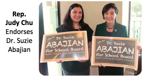 Congresswoman Judy Chu Endorses Dr. Suzie Abajian