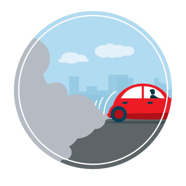 a graphic featuring the back of a red car on the edge of a hill