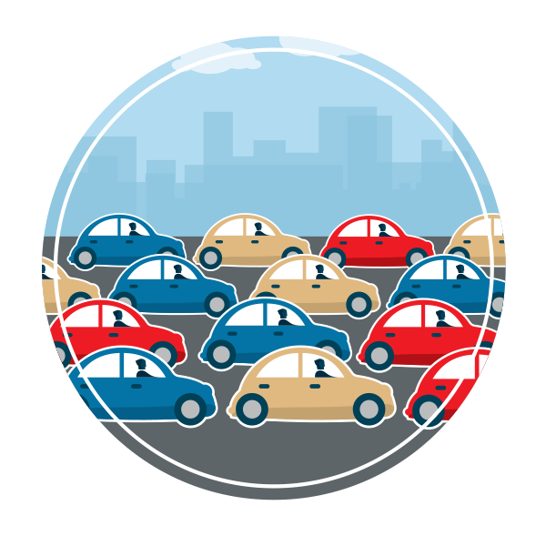 a graphic featuring blue, red, and yellow cars driving in one direction as a mass of traffic